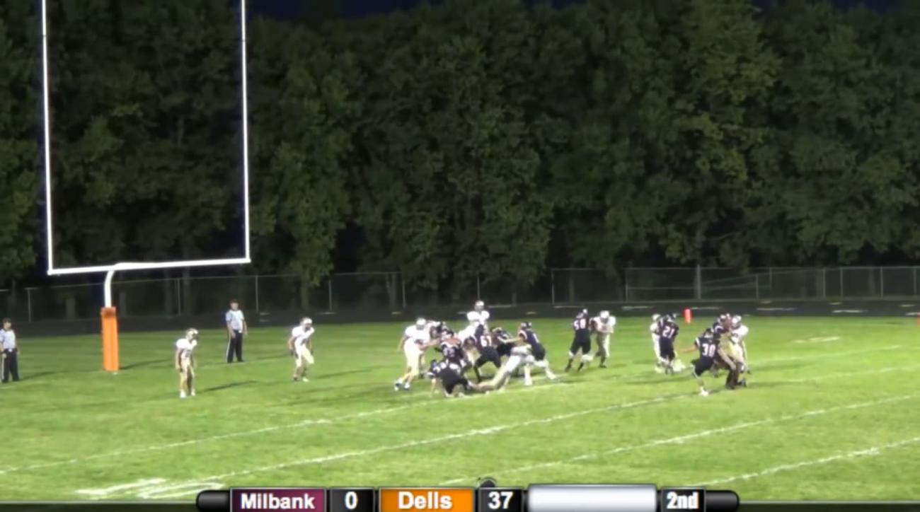 This South Dakota high school kicker may have missed the uprights initially, but the ball took a pretty good bounce.