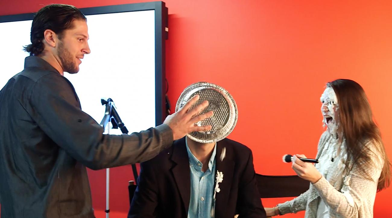Jake Marisnick salutes SI with a pie in the face