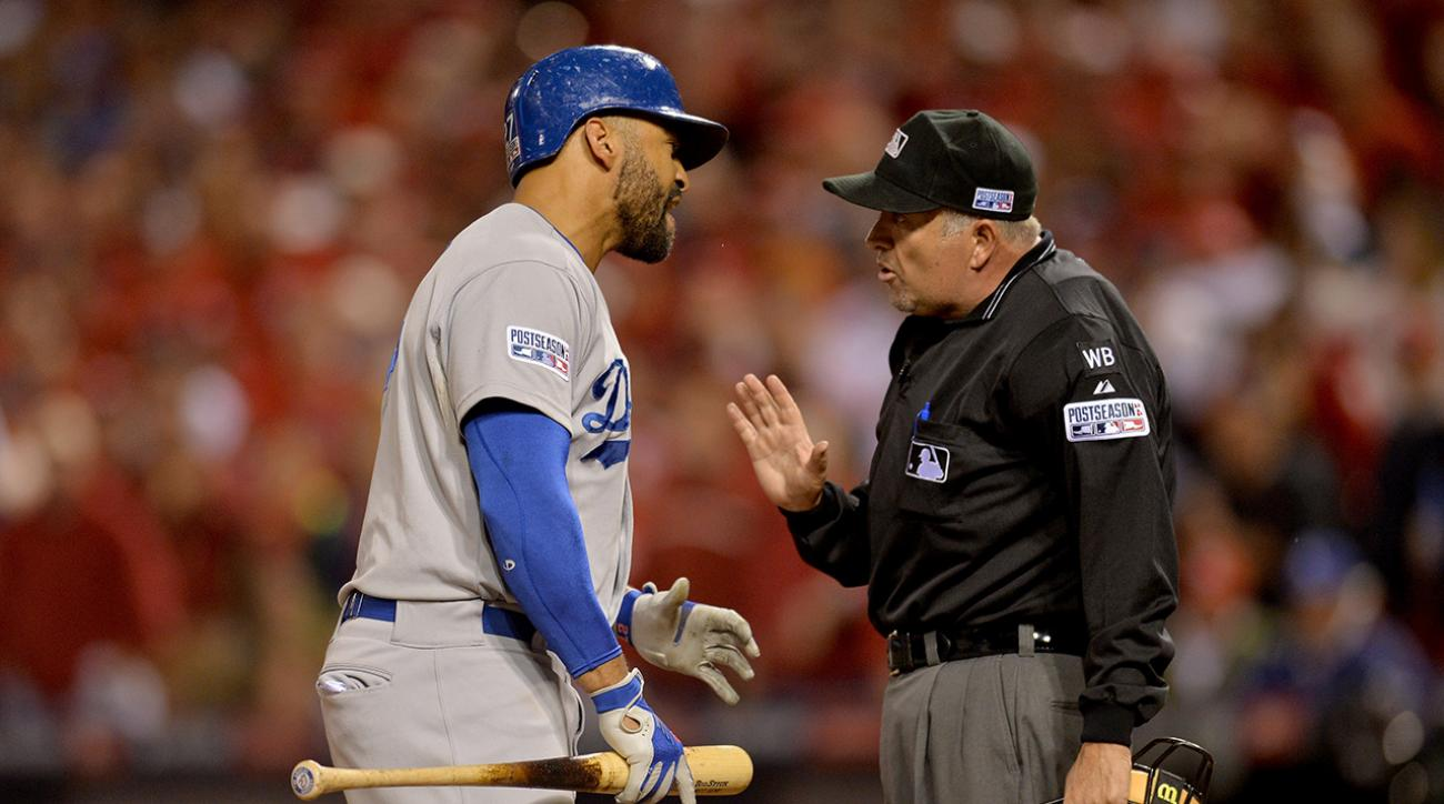 Los Angeles Dodgers outfielder Matt Kemp called out home plate umpire Dale Scott for his strike zone in Game 3 of the NLDS.