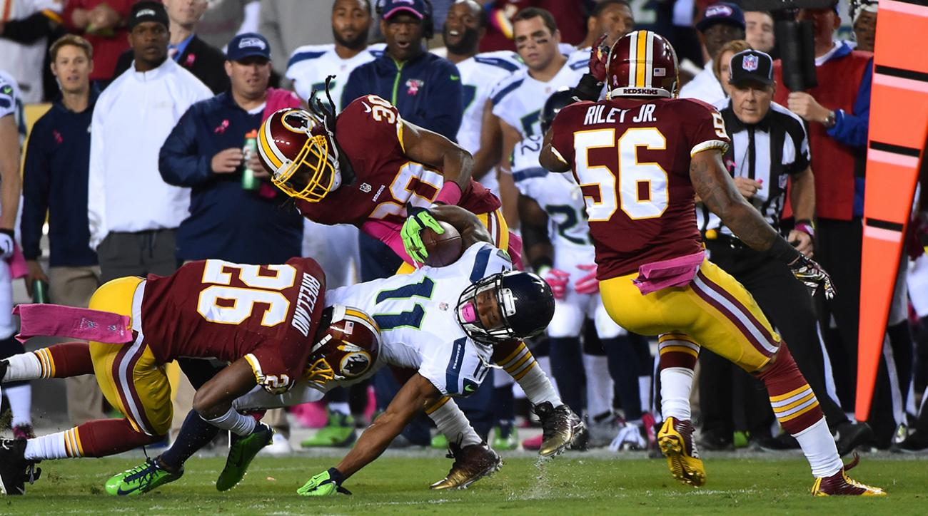 Percy Harvin caught 3 touchdown passes Monday night vs. the Washington Redskins.  Unfortunately, none of them counted.