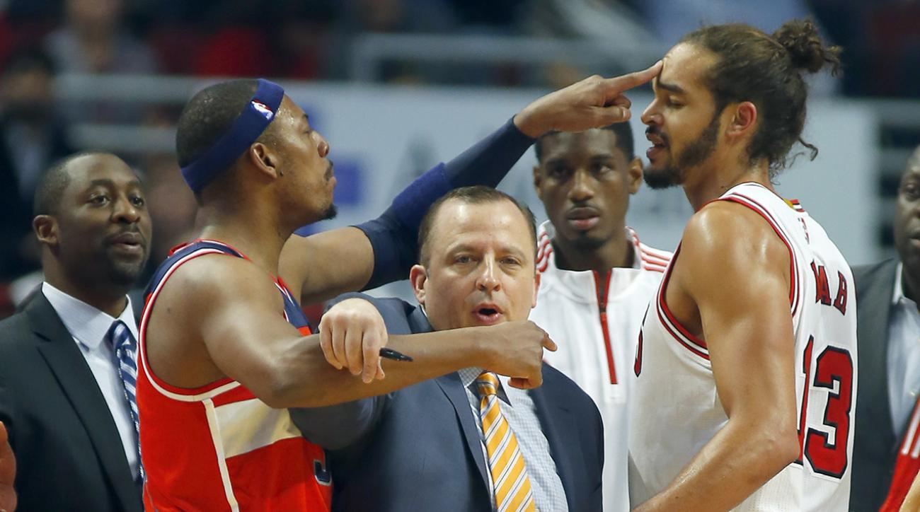 During a preseason game between the Chicago Bulls and Washington Wizards, Joakim Noah and Paul Pierce got into a scuffle.