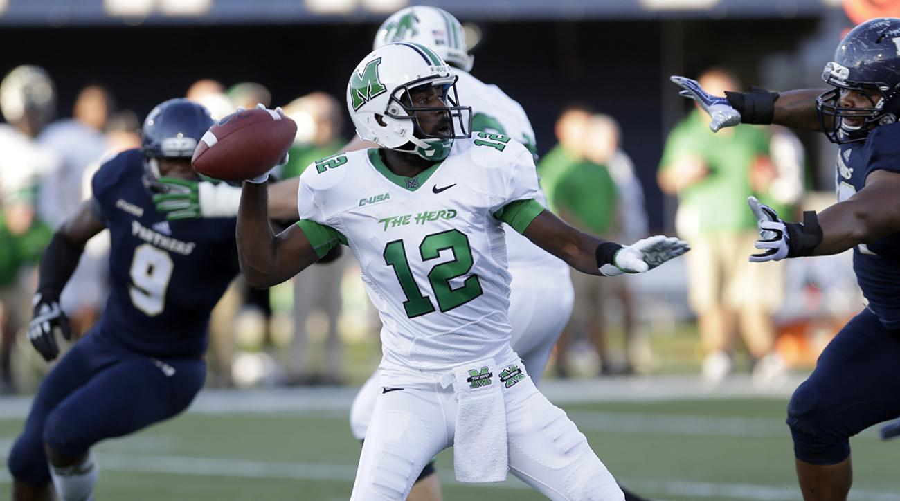 Marshall University makes public relations push to qualify for first college football playoffs.