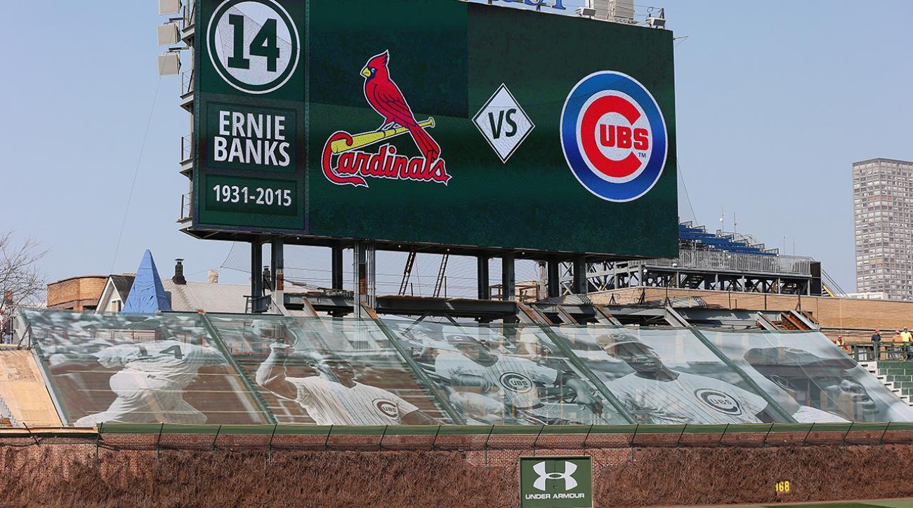 Cubs honor Ernie Banks with photo tarp over unfinished bleachers