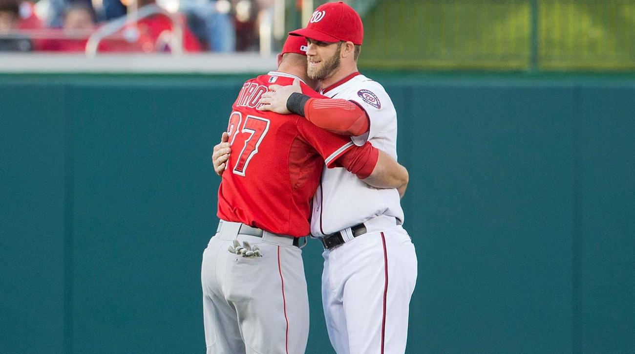 Image result for bryce harper mike trout