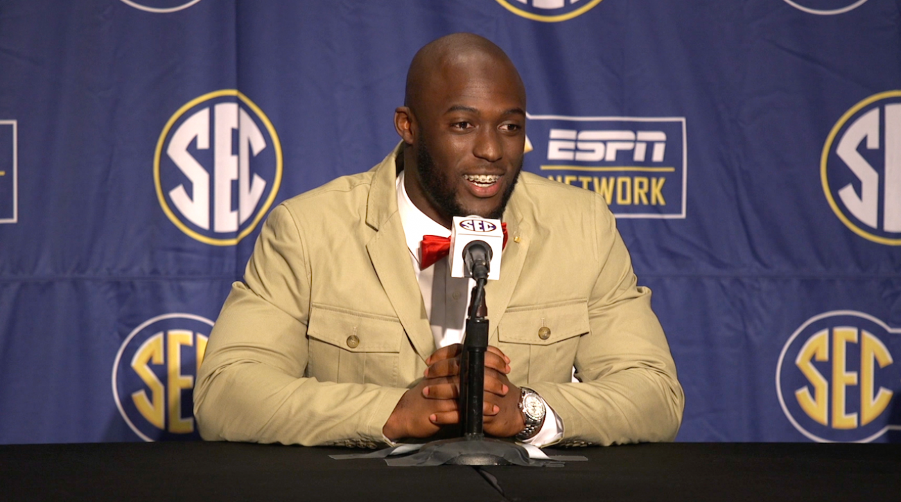 College football, leonard fournette, lsu tigers, SEC Media Days, sports illustrated, fournette red pants