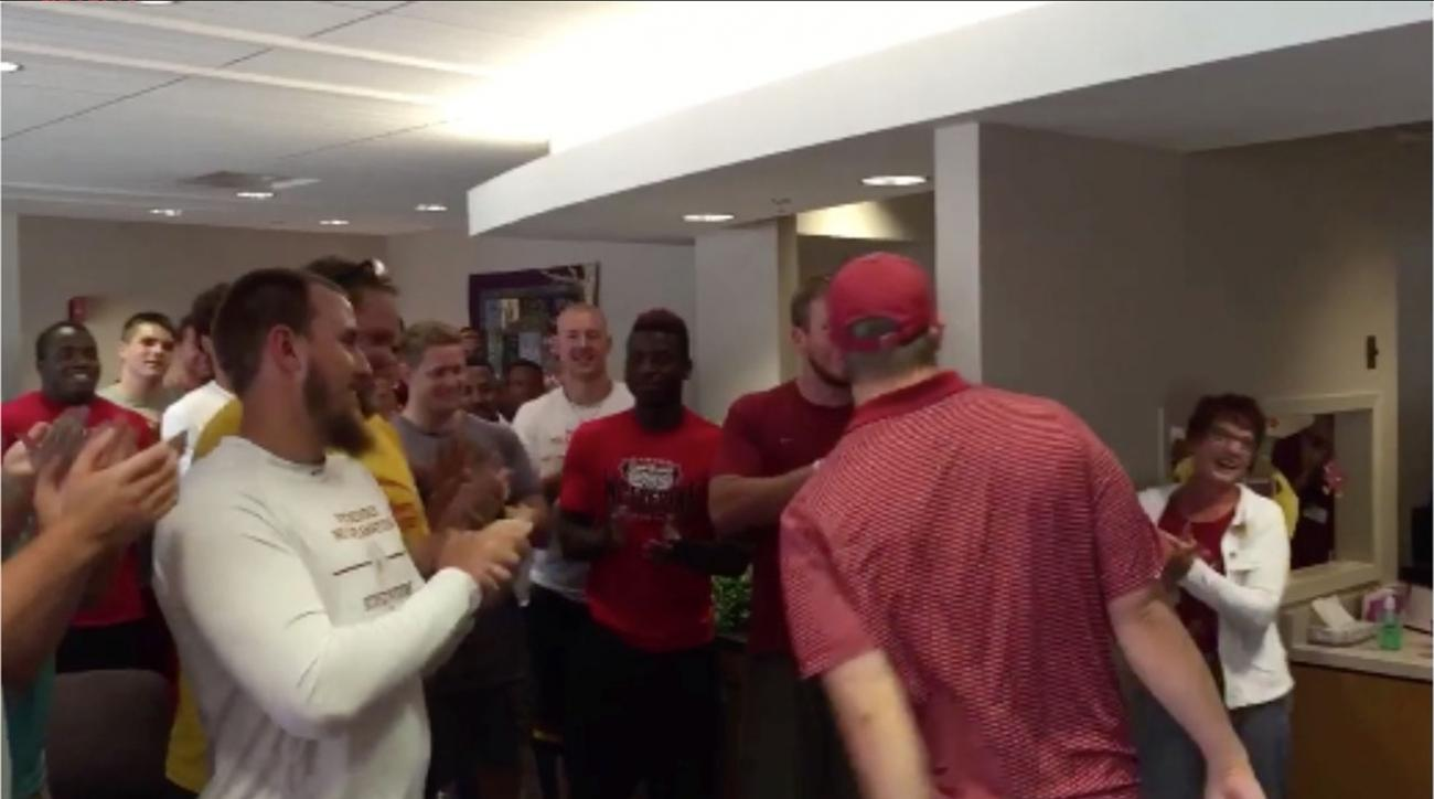 Iowa State football team surprises player after final cancer treatment