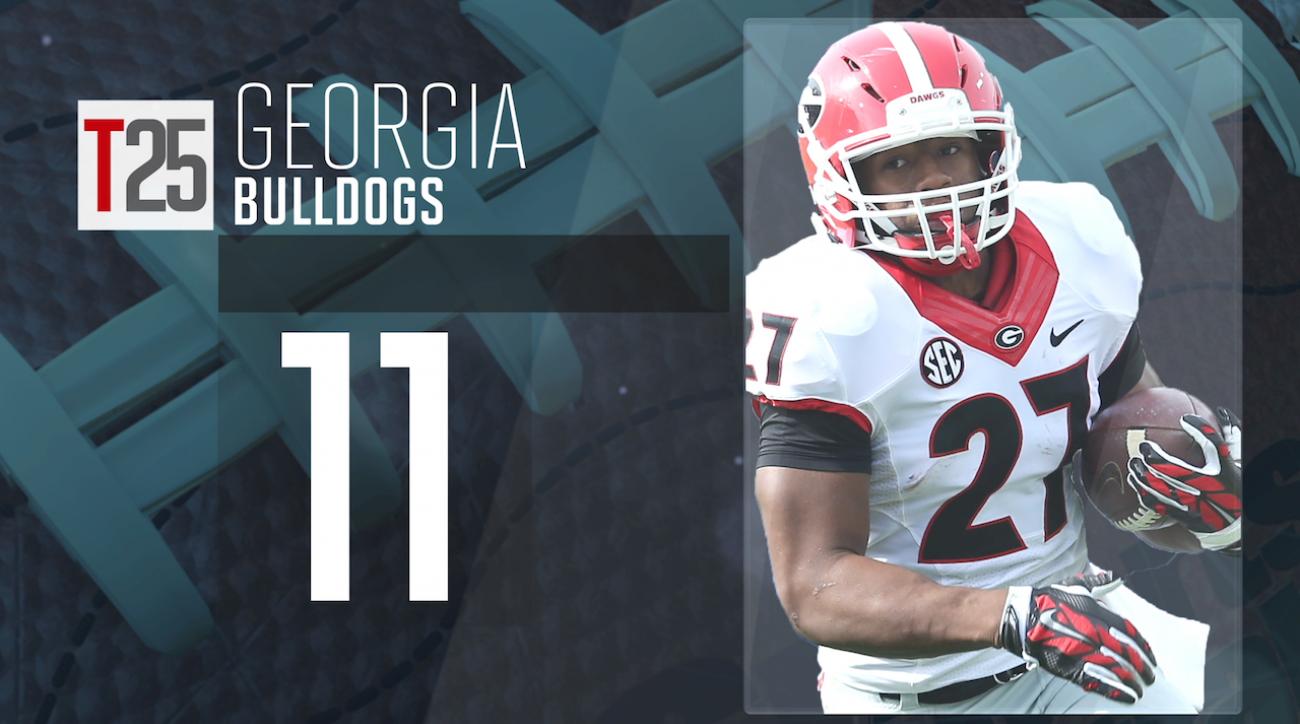 College football, Georgia Bulldogs, preseason top 25, sports illustrated, nick chubb, college football top 25