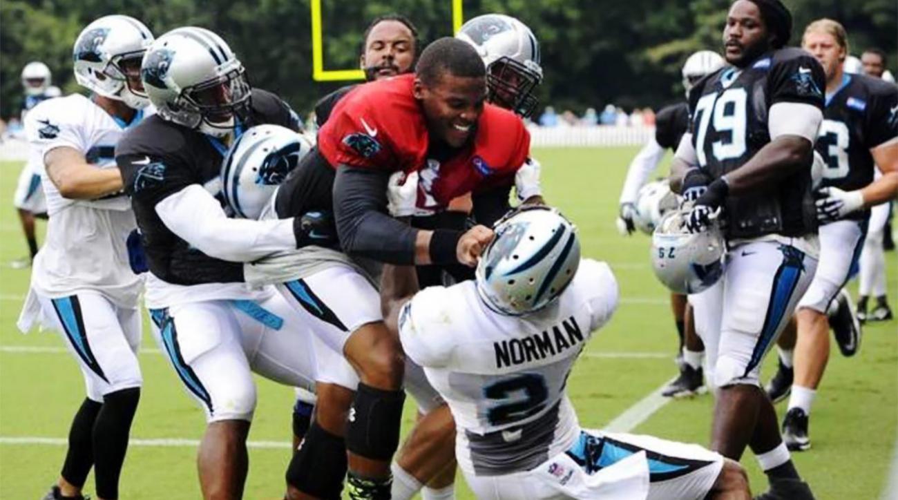 Cam Newton shoves teammate Josh Norman in practice, scuffle ensues