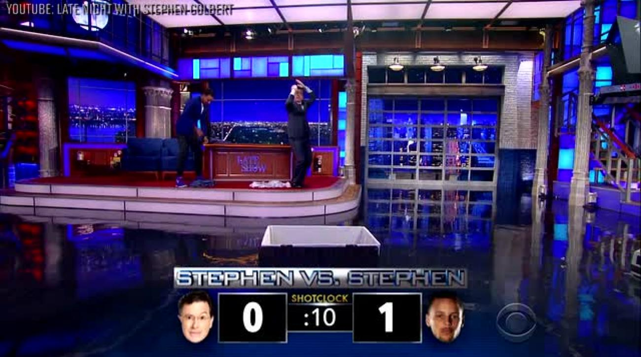 Stephen Curry, Stephen Colbert hold laundry shooting competition