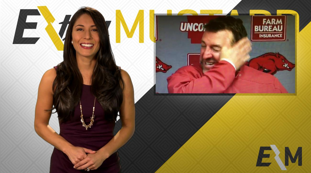 Mustard Minute: Arkansas head coach Bret Bielema looking forward to 'hopping on wife' IMG