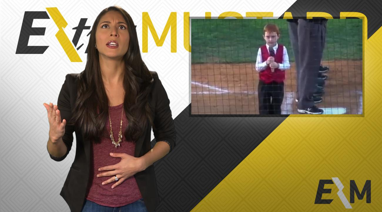 Mustard Minute: Kid hiccups while singing National Anthem and nails it IMG