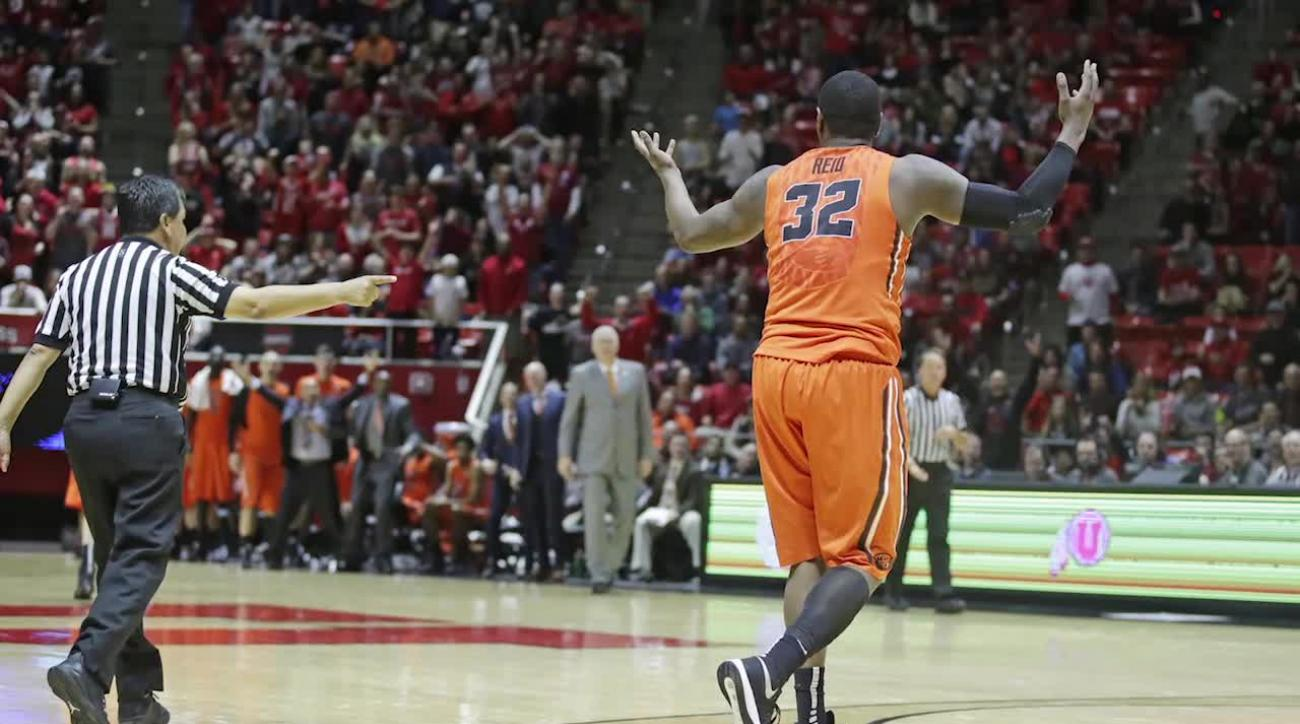 Oregon State's Jarmal Reid ejected for tripping referee