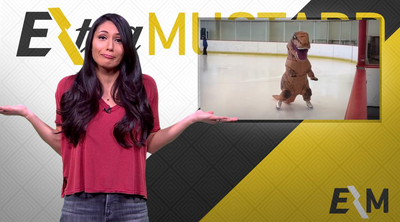 Mustard Minute: Random video of T-rex on ice skates IMG