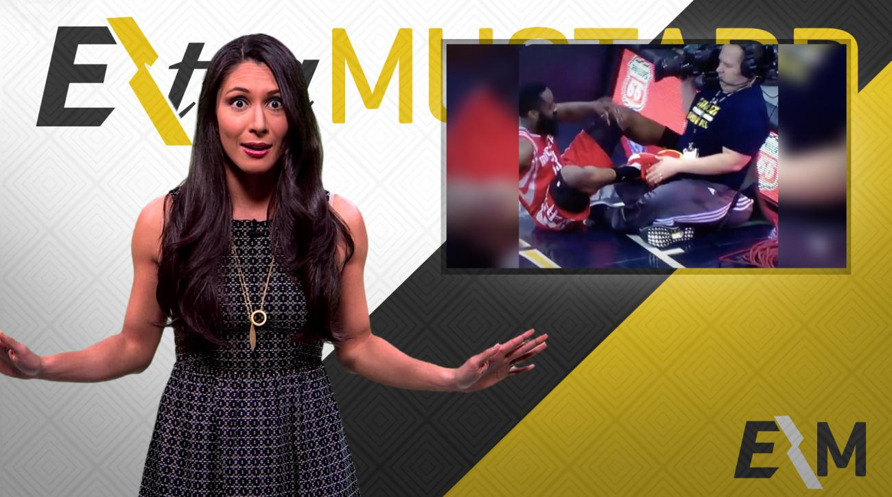 Mustard Minute: James Harden reacts appropriately to almost kicking cameraman in groin IMG