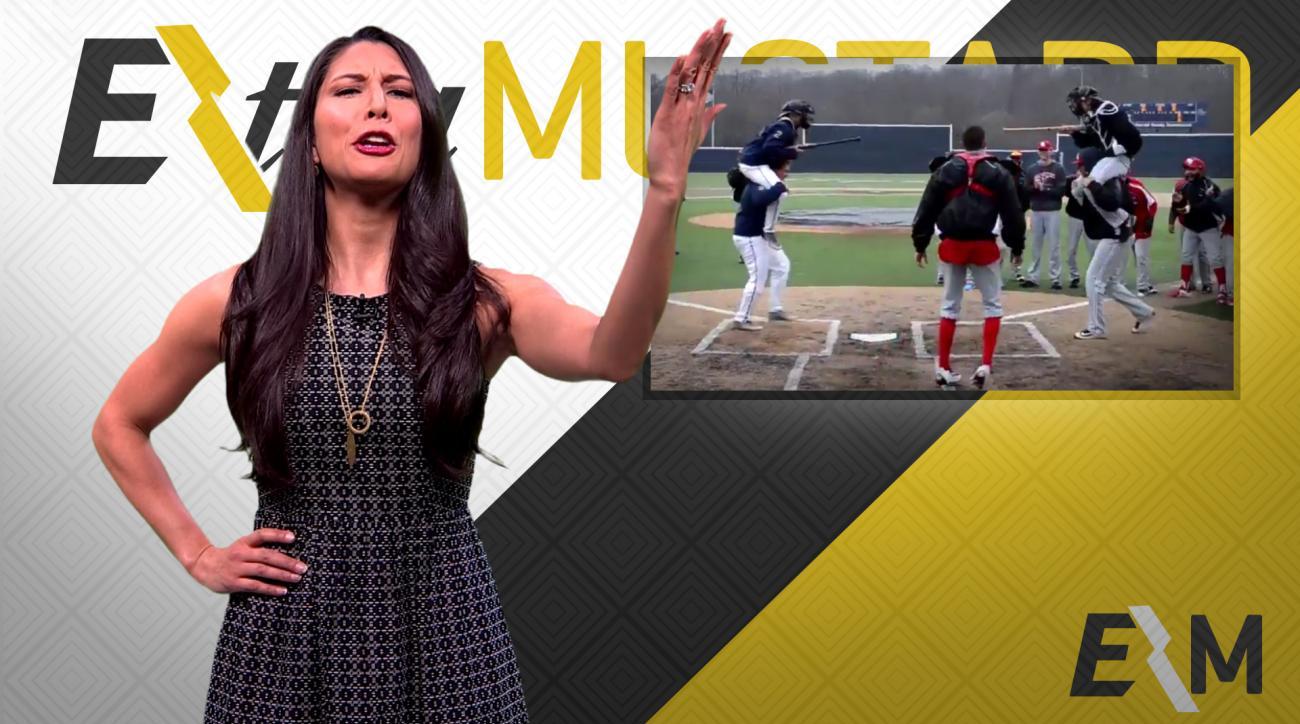Mustard Minute: Baseball teams joust during rain delay IMG
