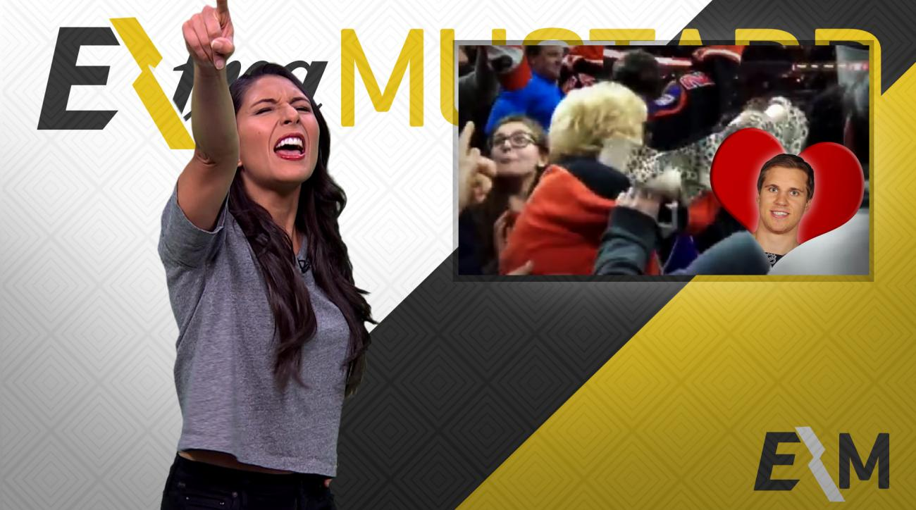 Mustard Minute: Elderly Flyers fan throws bra on ice for Brayden Schenn's hat trick IMG