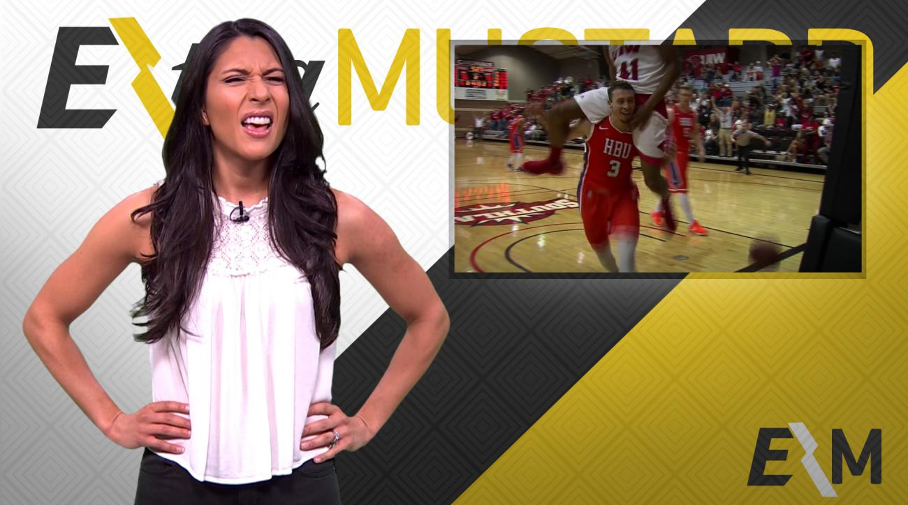 Mustard Minute: College basketball player dunks, opponent gives him piggyback ride IMG