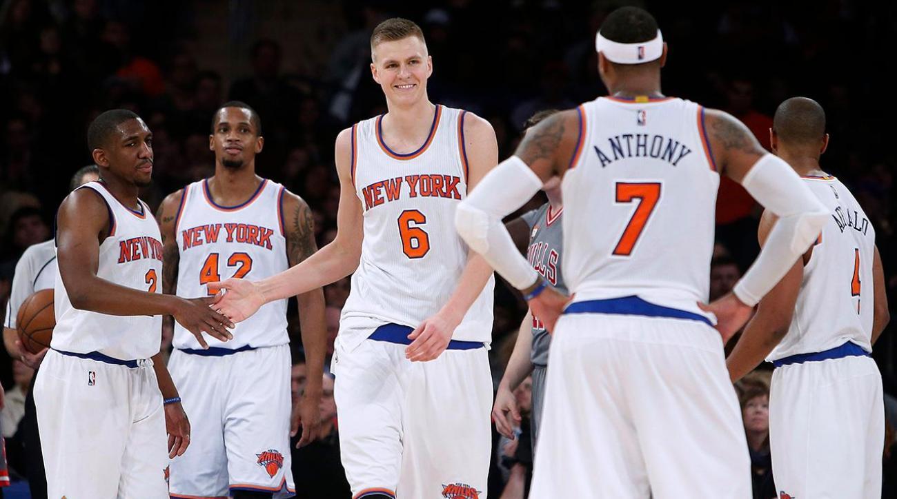Kristaps Porzingis: I need Melo to stay with Knicks IMAGE