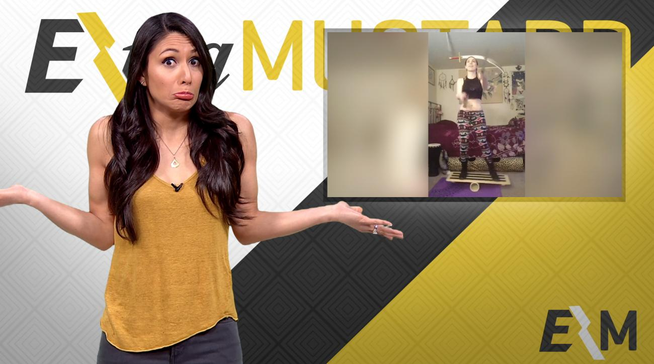 Mustard Minute: Girl juggles three swords while balancing on board IMG