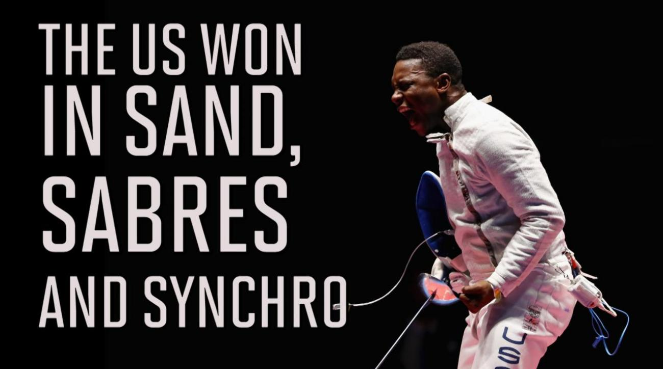 USA wins in sand, sabre, and synchro on Wednesday