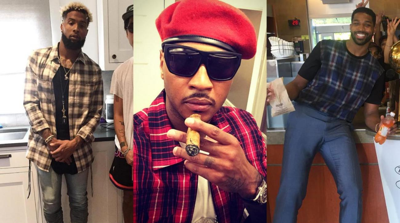 Sports Style Swipe: Who wore plaid better? Odell Beckham, Carmelo Anthony or Tristan Thompson IMG
