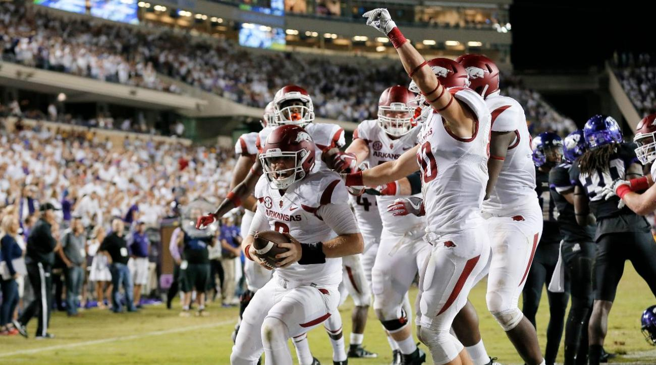 Arkansas downs No. 15 TCU in double overtime
