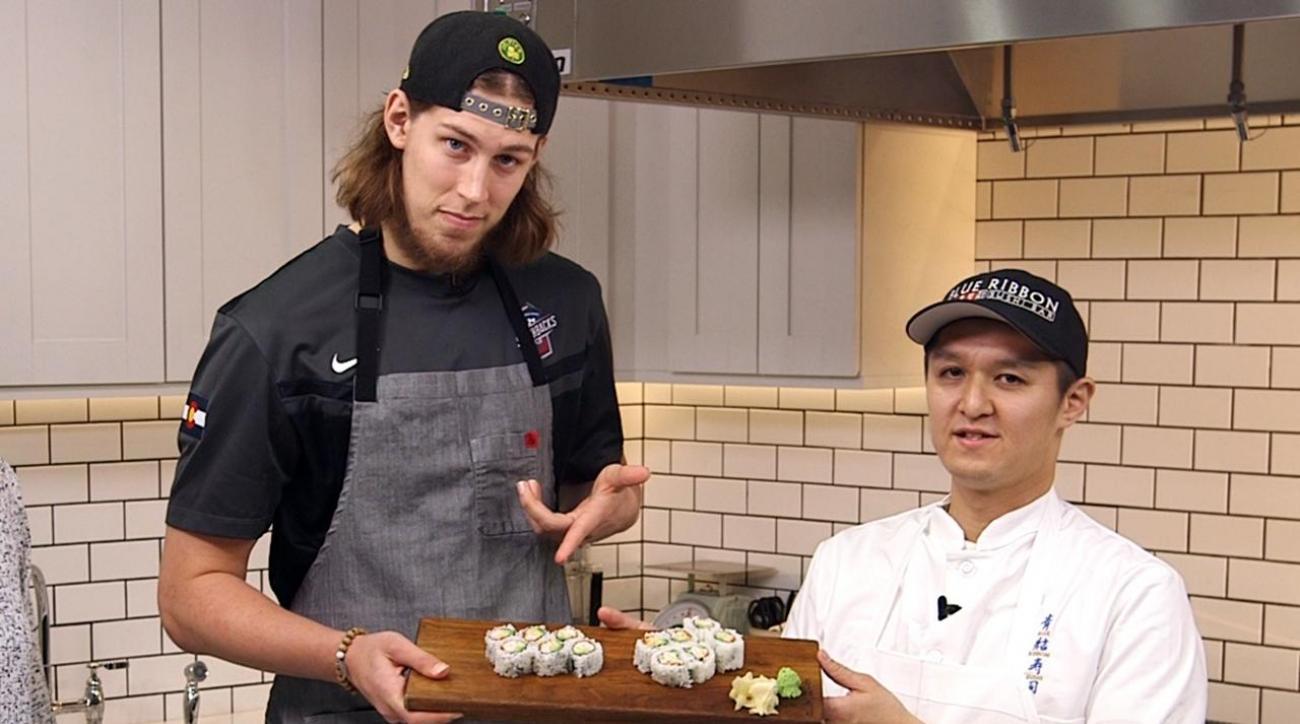 Boston Celtics' Kelly Olynyk learns how to make sushi IMG