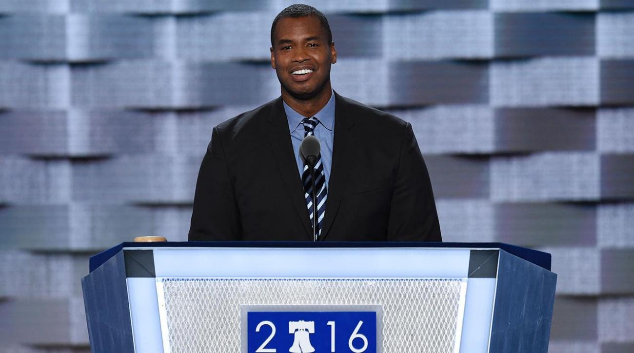 Jason Collins on the campaign trail for Hillary Clinton IMG