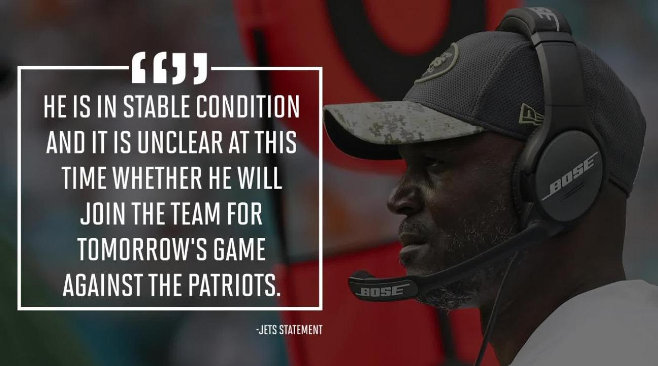 Jets' Todd Bowles admitted to hospital, did not travel to New England
