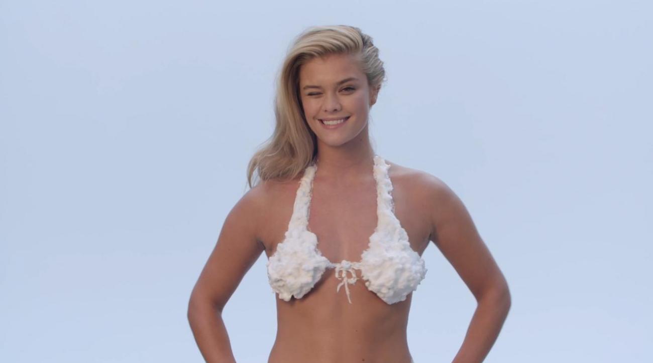 1479acd304 VIDEO - Exclusive Nina Agdal in a shaving cream bikini