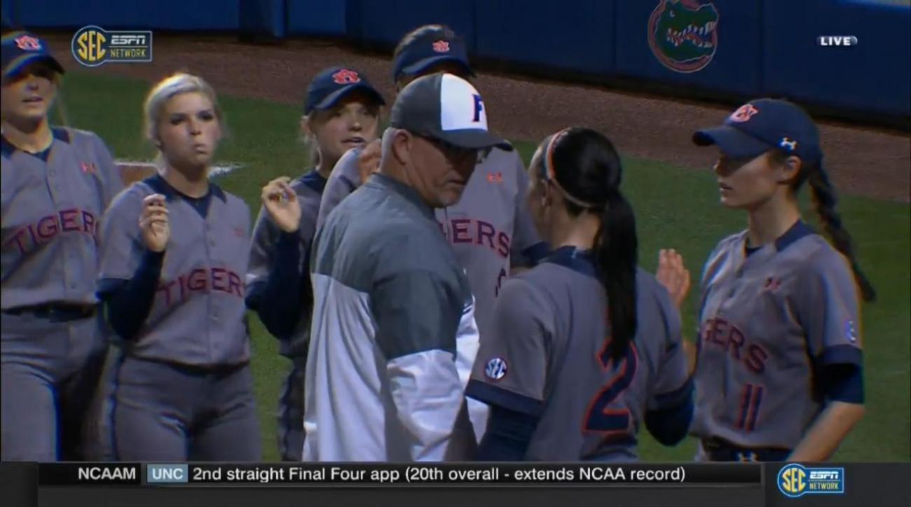 Auburn softball player, Florida coach have postgame brush up IMAGE
