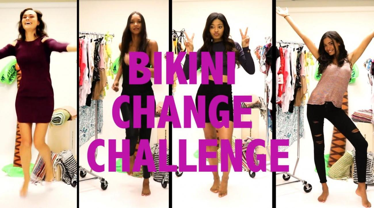 Lais Ribeiro SI Swimsuit Bikini Change Challenge