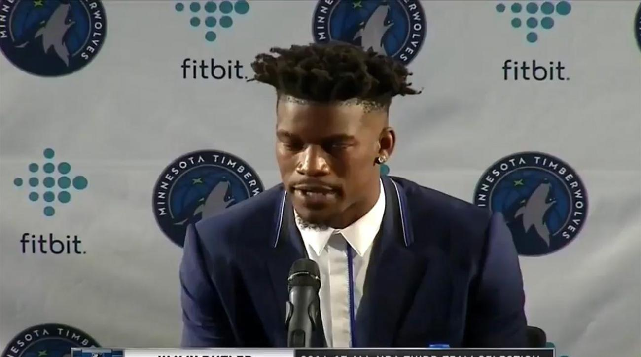 Jimmy Butler gives his number out at press conference