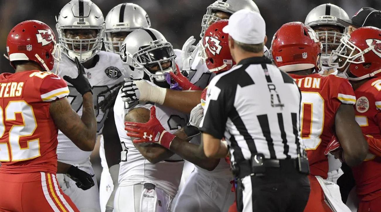 Marshawn Lynch ejected Protected Marcus Peters Penn says