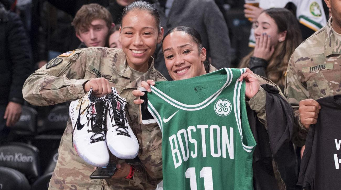 uk availability 481e9 29a22 Kyrie Irving Gives Game-Worn Jersey, Shoes to Military Personnel