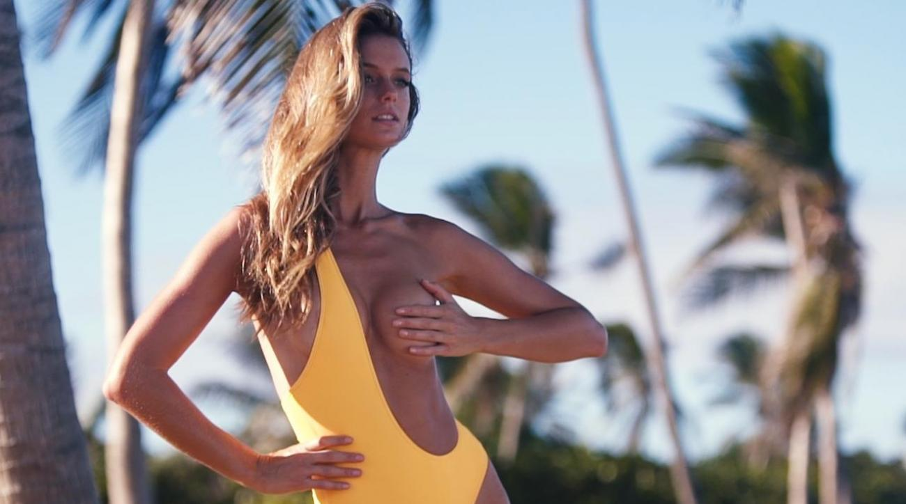Kate Bock Wears a Swimsuit Backwards for SI Swimsuit 2018