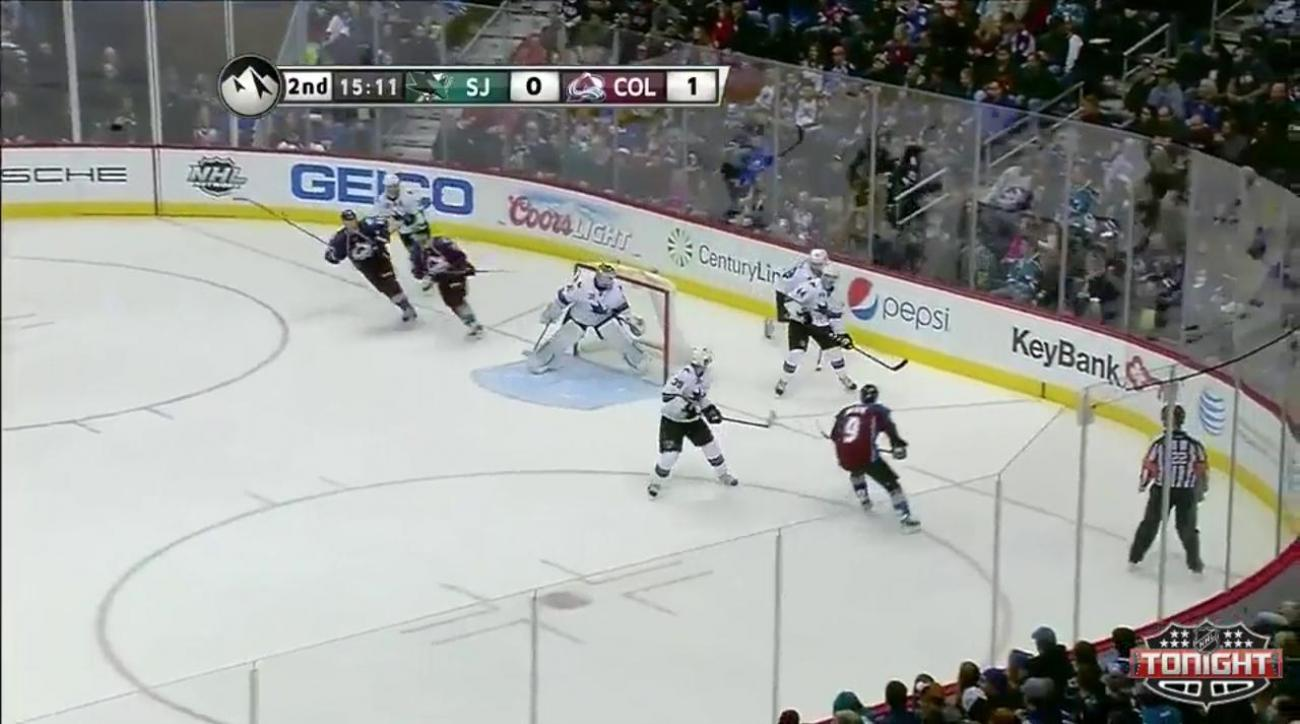 MacKinnon's first two-goal game fuels Avs over Sharks 4-3