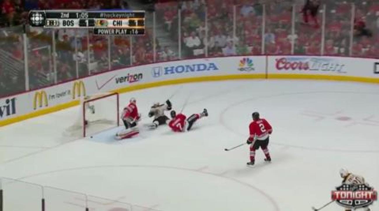Bruins outlast Blackhawks in Game 2 overtime win