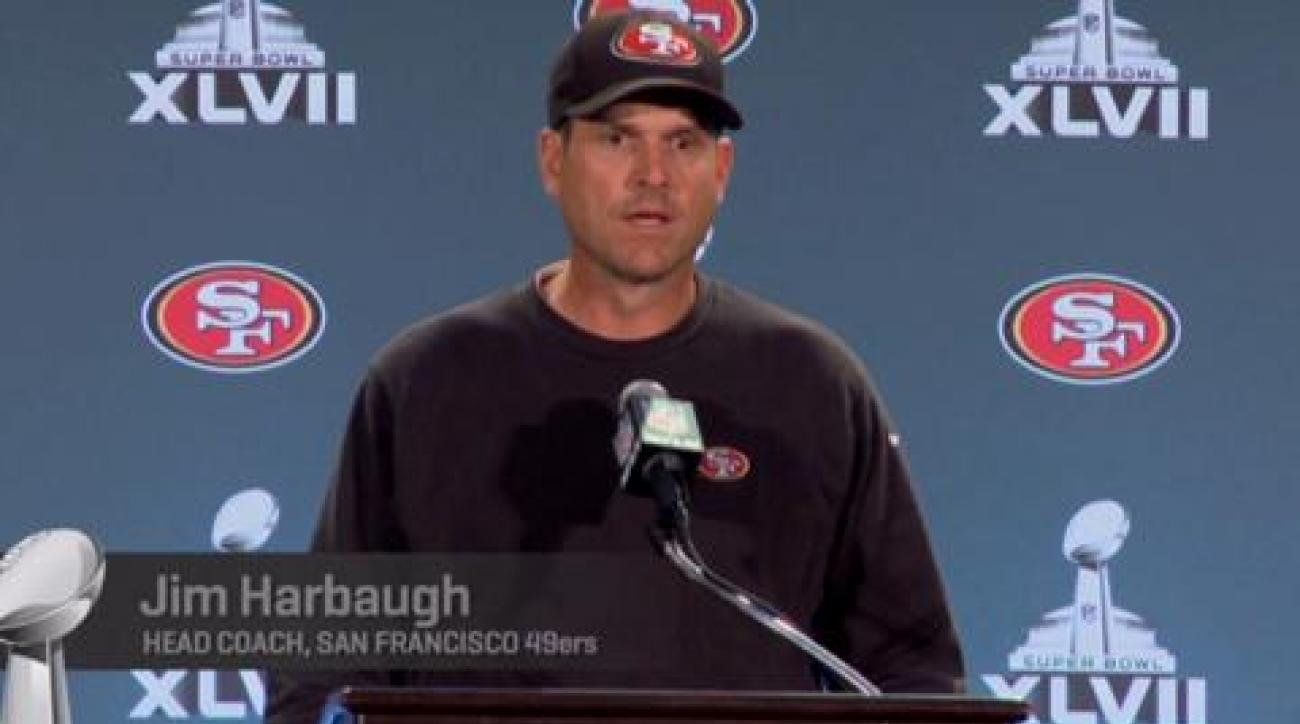 49ers' Jim Harbaugh and players discuss facing the Ravens