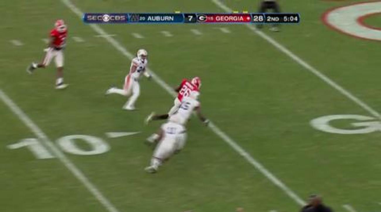 No. 14 Georgia knocks off No. 24 Auburn 45-7