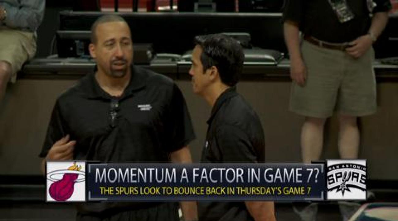 How will momentum factor into Game 7 for Heat and Spurs?