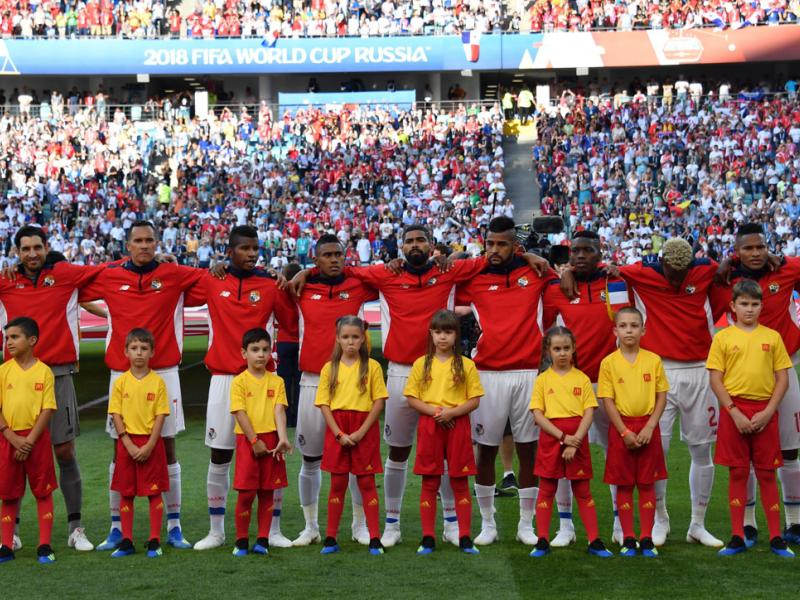 Panama stands for the national anthem at its first World Cup game