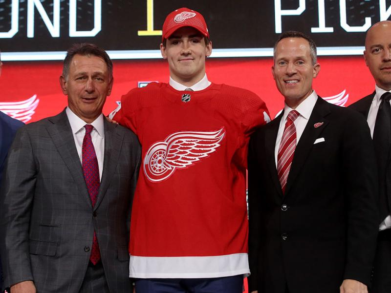 Filip Zadina poses after being selected sixth overall by the Detroit Red Wings during the first round of the 2018 NHL Draft at American Airlines Center on June 22, 2018 in Dallas, Texas. (Photo by Bruce Bennett/Getty Images)