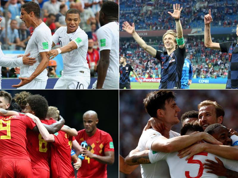 England, Croatia, Belgium and France are in the World Cup semifinals