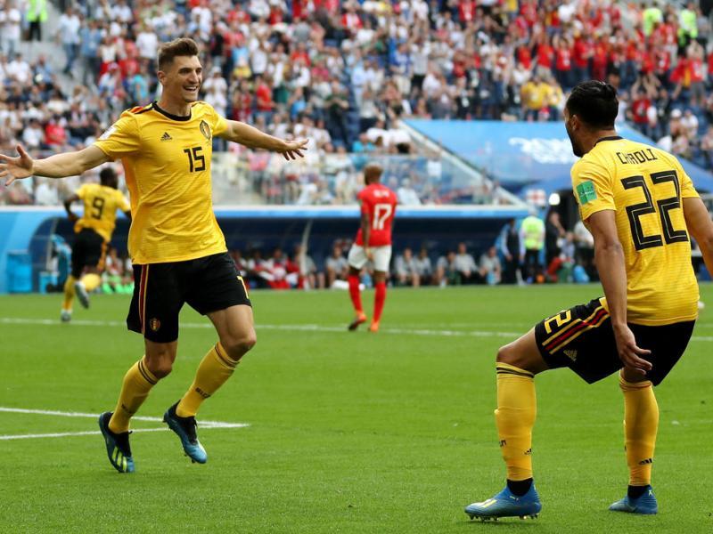 Thomas Meunier scores for Belgium vs. England