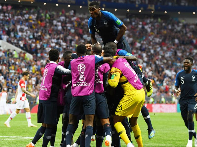 France's Paul Pogba celebrates during the World Cup final