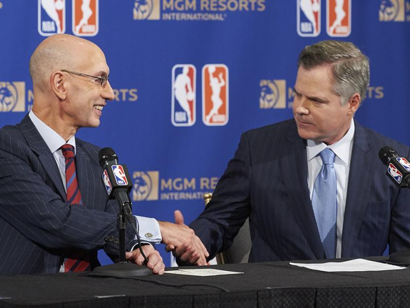 NBA Commissioner Adam Silver and MGM Resorts Chairman and CEO Jim Murren announce the first official gaming partner of the NBA and WNBA