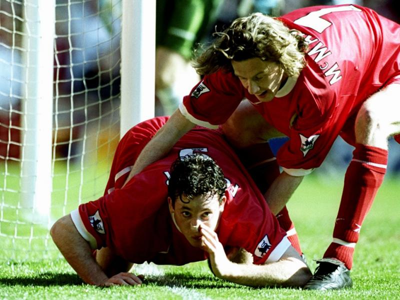 Robbie Fowler pretends to snort cocaine in celebration of a goal vs. Everton