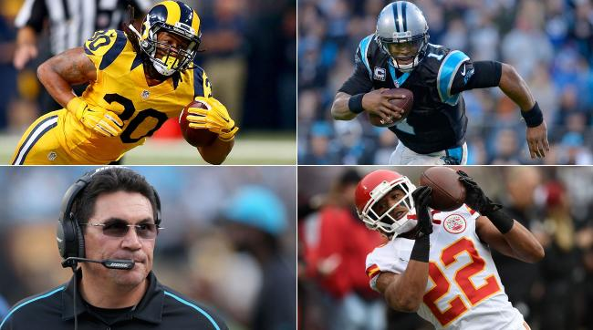 Clockwise, from top left: Todd Gurley, Cam Newton, Marcus Peters and Ron Rivera.