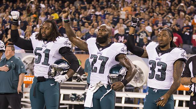 From l. to r., Steven Means, Malcolm Jenkins and Ron Brooks